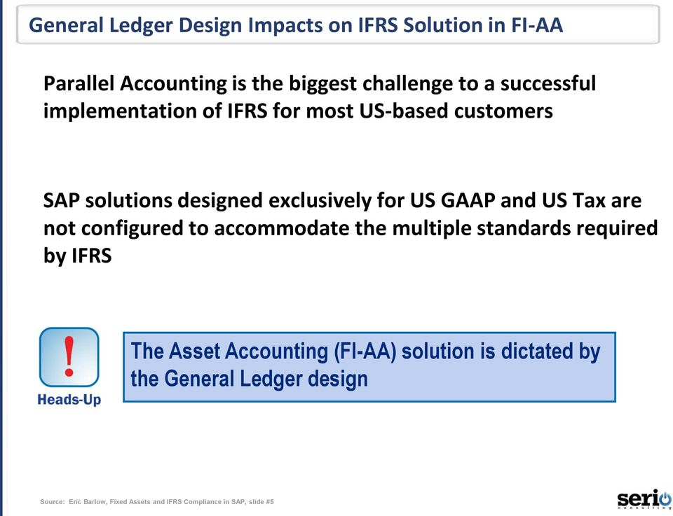US Tax are not configured to accommodate the multiple standards required by IFRS The Asset Accounting (FI-AA)