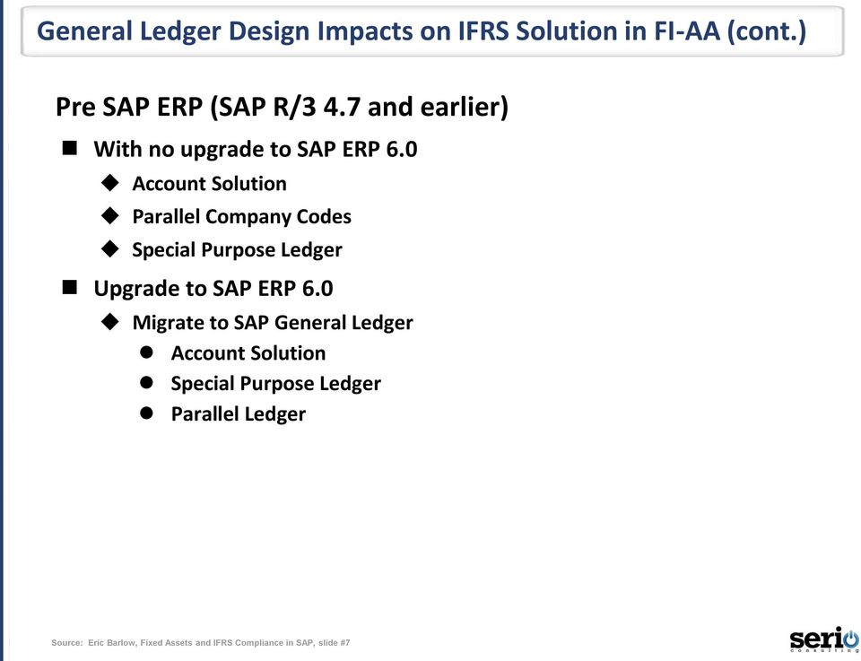 0 Account Solution Parallel Company Codes Special Purpose Ledger Upgrade to SAP ERP 6.