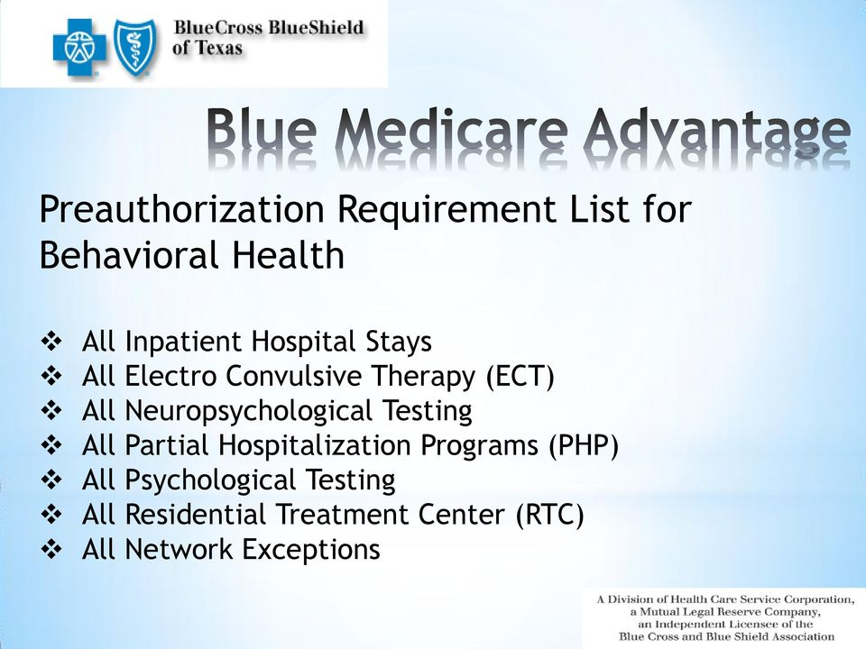 Neuropsychological Testing All Partial Hospitalization Programs (PHP)