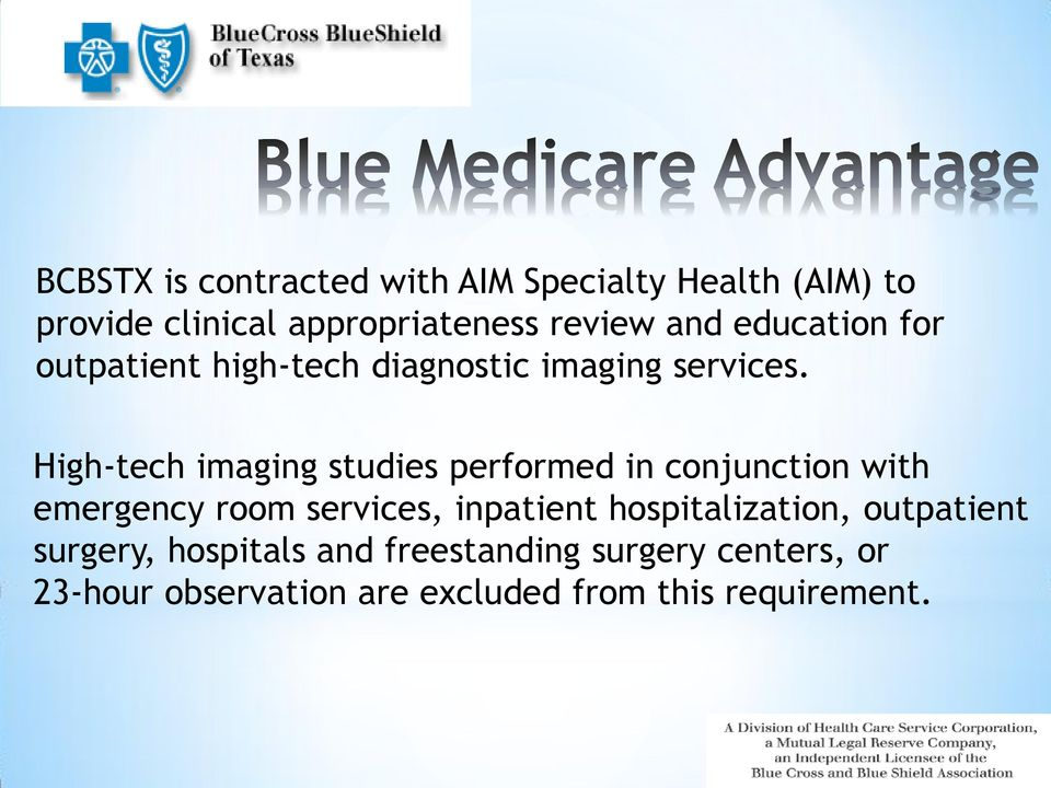 High-tech imaging studies performed in conjunction with emergency room services, inpatient