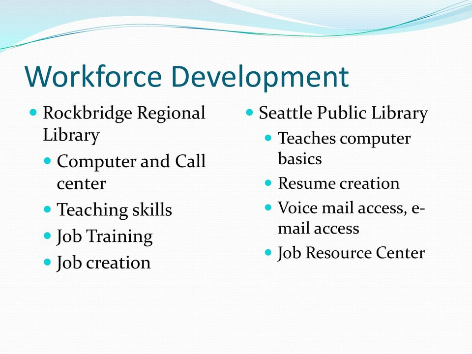 Seattle Public Library Teaches computer basics Resume