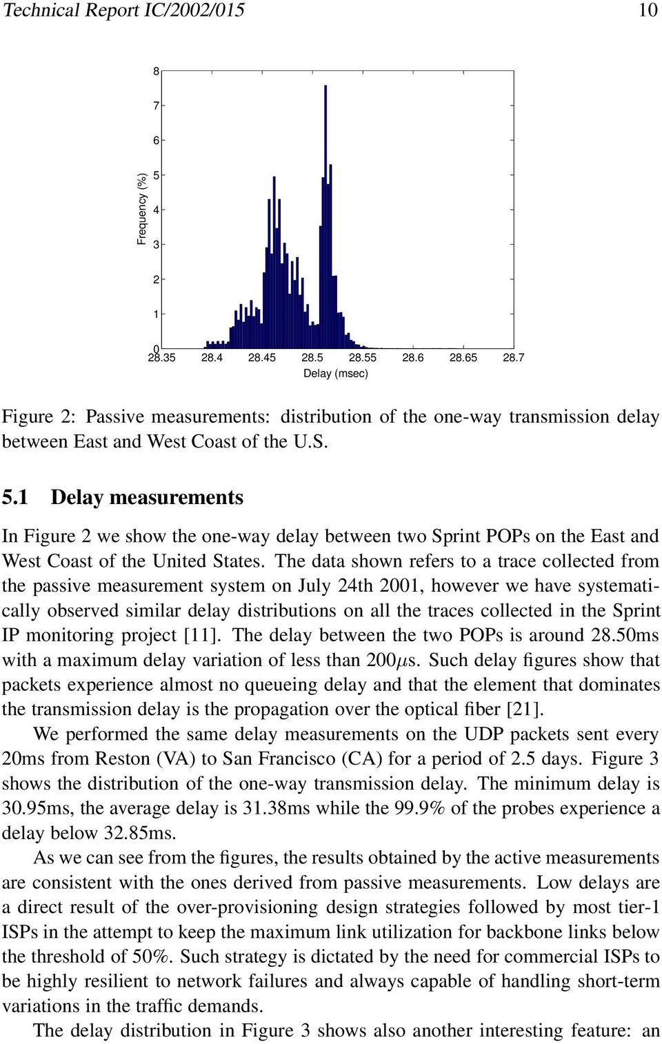 1 Delay measurements In Figure 2 we show the one-way delay between two Sprint POPs on the East and West Coast of the United States.