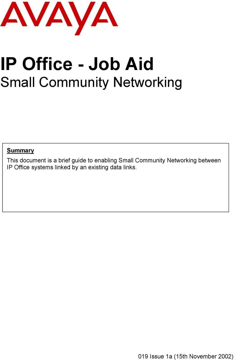 Community Networking between IP Office systems linked