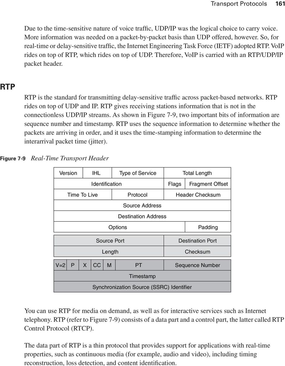 VoIP rides on top of RTP, which rides on top of UDP. Therefore, VoIP is carried with an RTP/UDP/IP packet header.