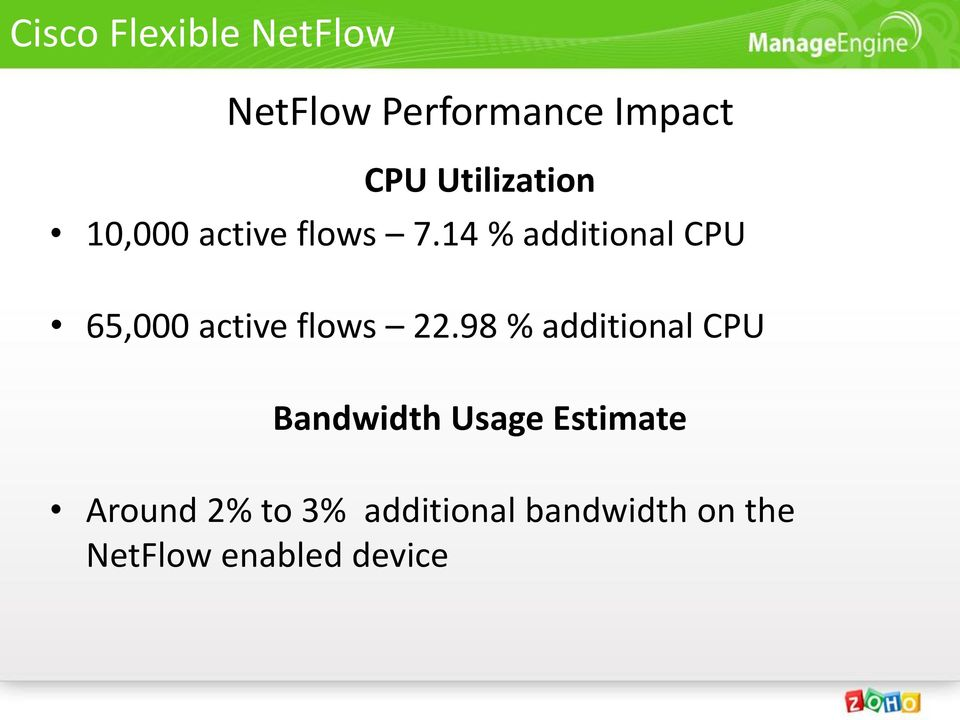 14 % additional CPU 65,000 active flows 22.