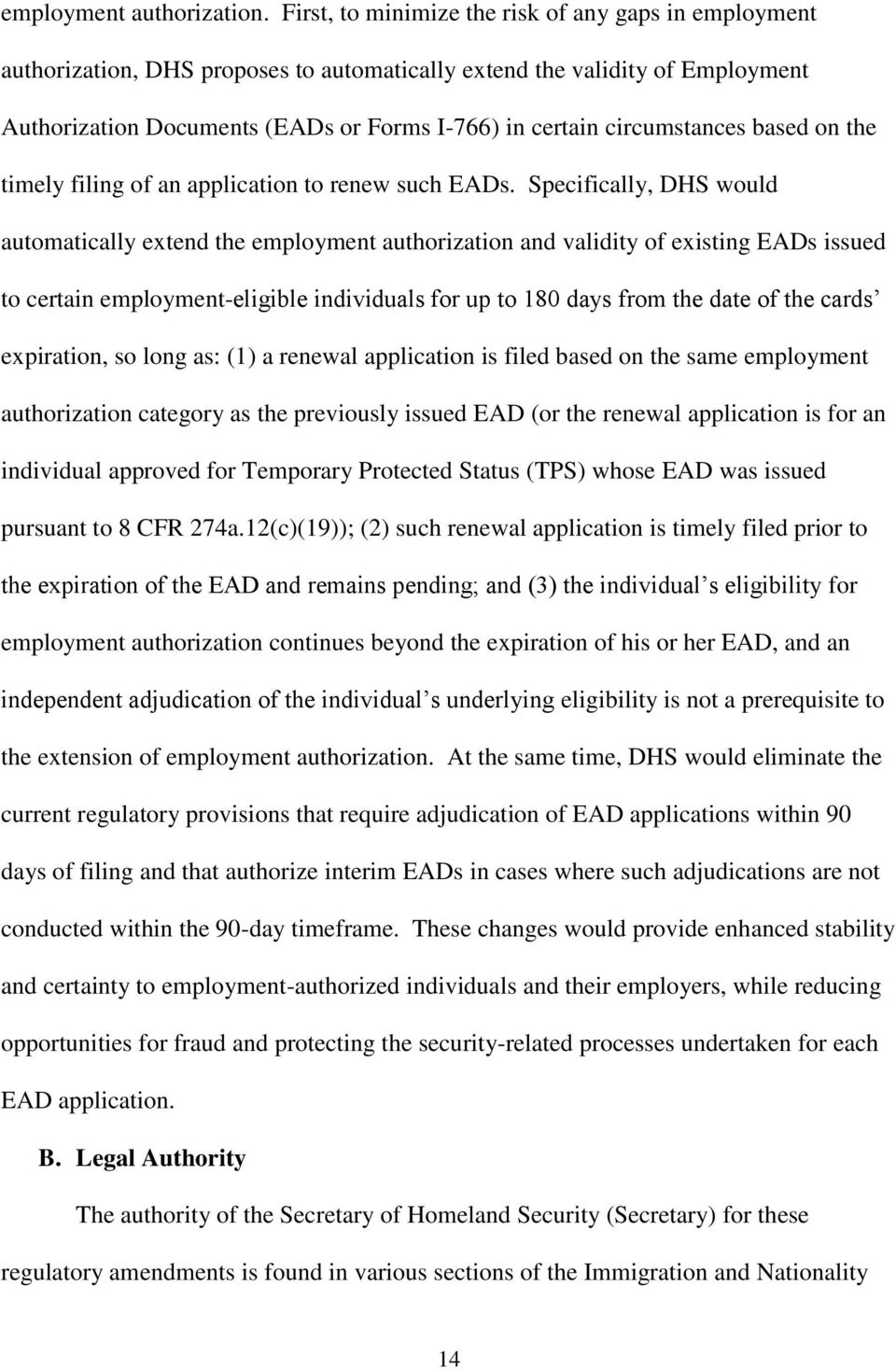 circumstances based on the timely filing of an application to renew such EADs.