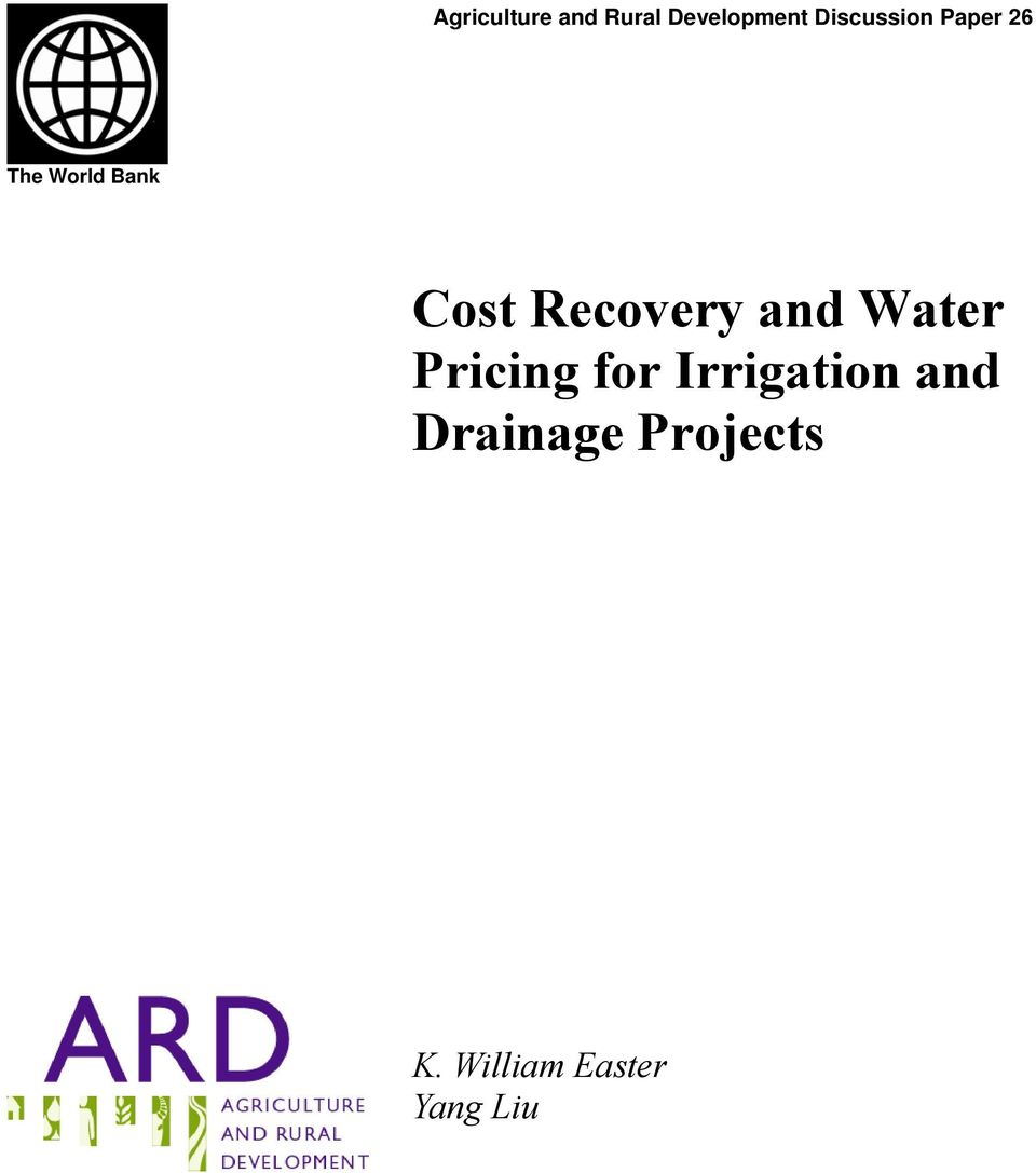 Recovery and Water Pricing for