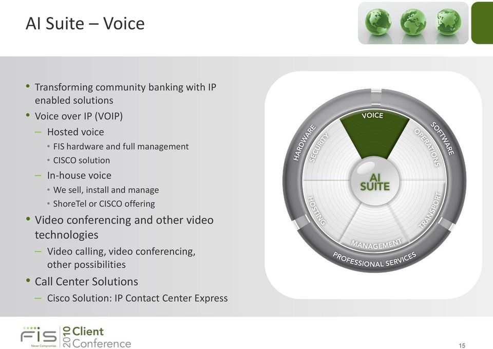 manage ShoreTel or CISCO offering Video conferencing and other video technologies Video calling,