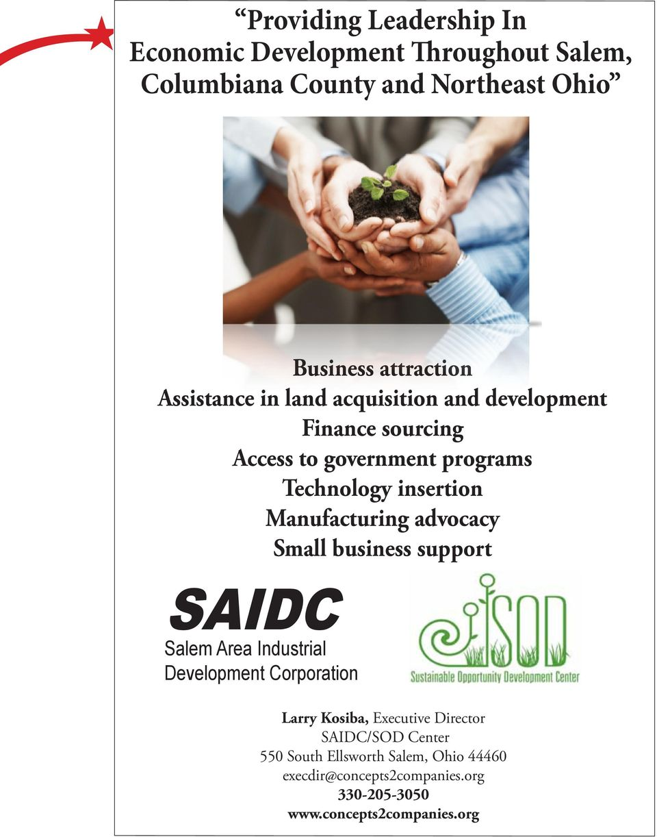 Manufacturing advocacy Small business support SAIDC Salem Area Industrial Development Corporation Larry Kosiba, Executive