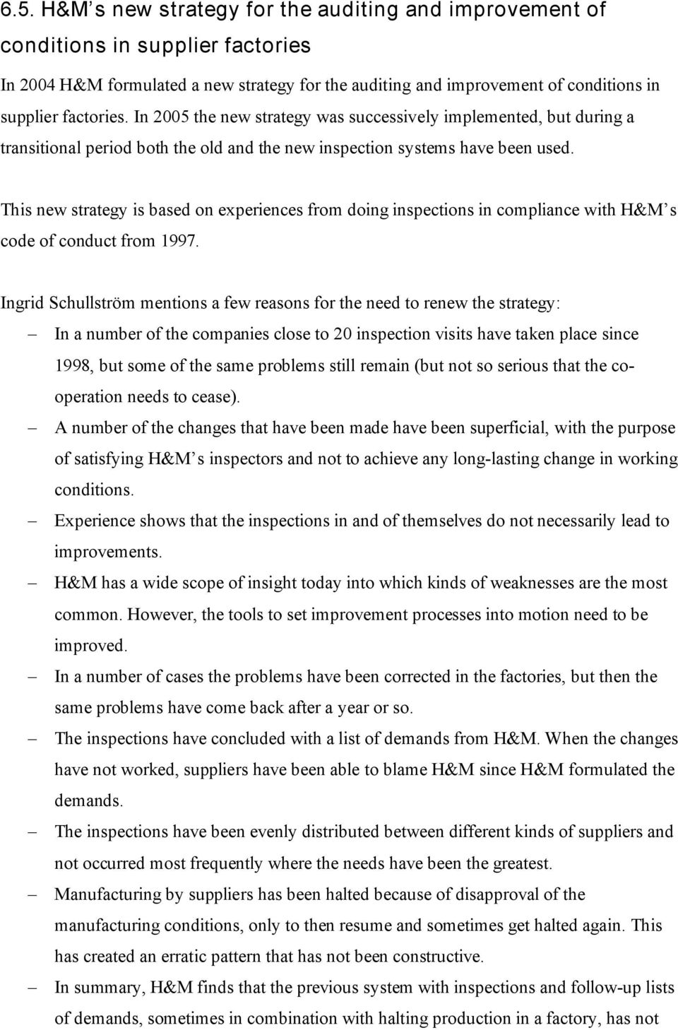 H&M s infrastructure for the auditing and improvement of working ...