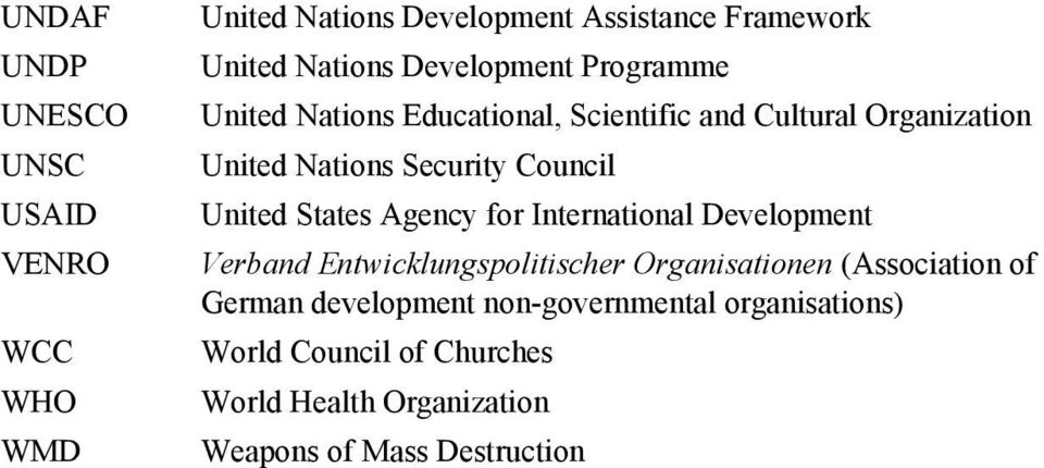 United States Agency for International Development Verband Entwicklungspolitischer Organisationen (Association of