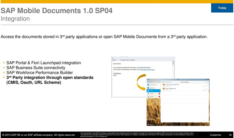 SAP Mobile Documents from a 3 rd party application.