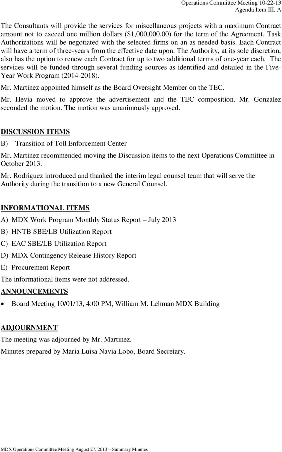 MIAMI-DADE EXPRESSWAY AUTHORITY (MDX) OPERATIONS COMMITTEE
