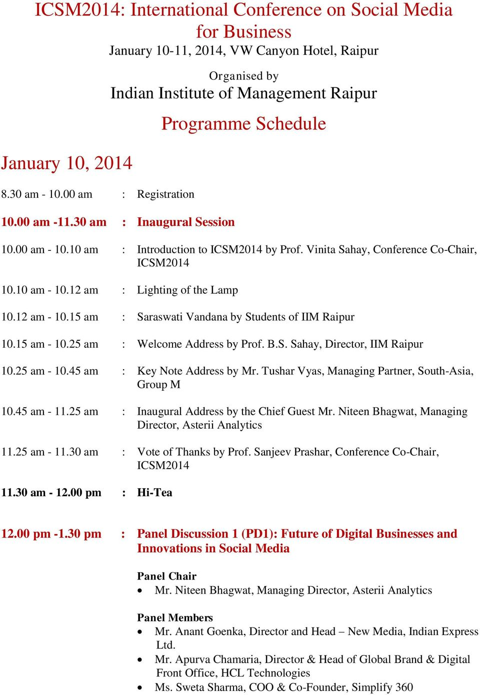 ICSM2014: International Conference on Social Media for Business ...