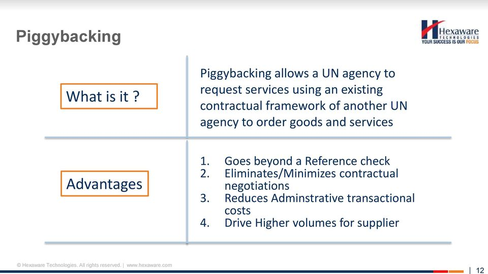 framework of another UN agency to order goods and services Advantages 1.