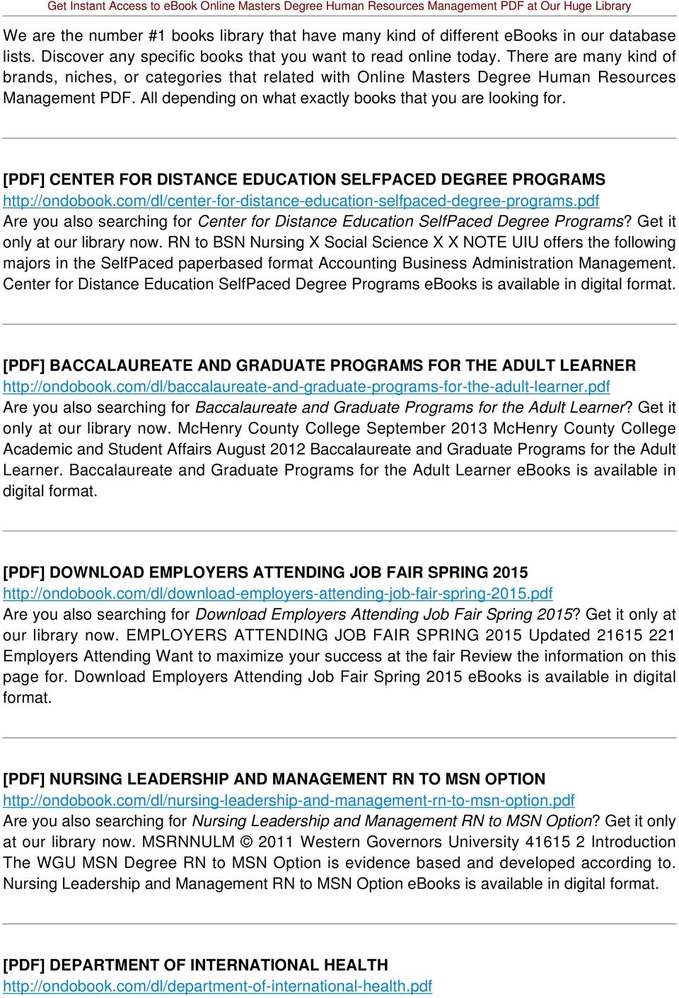 [PDF] CENTER FOR DISTANCE EDUCATION SELFPACED DEGREE PROGRAMS http://ondobook.com/dl/center-for-distance-education-selfpaced-degree-programs.