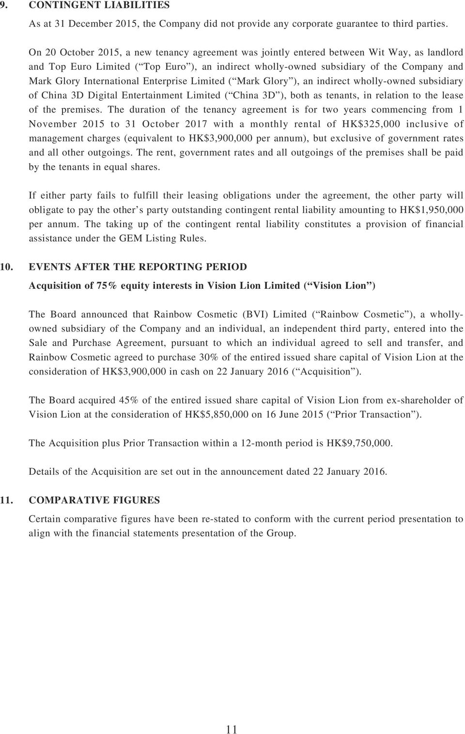 International Enterprise Limited ( Mark Glory ), an indirect wholly-owned subsidiary of China 3D Digital Entertainment Limited ( China 3D ), both as tenants, in relation to the lease of the premises.
