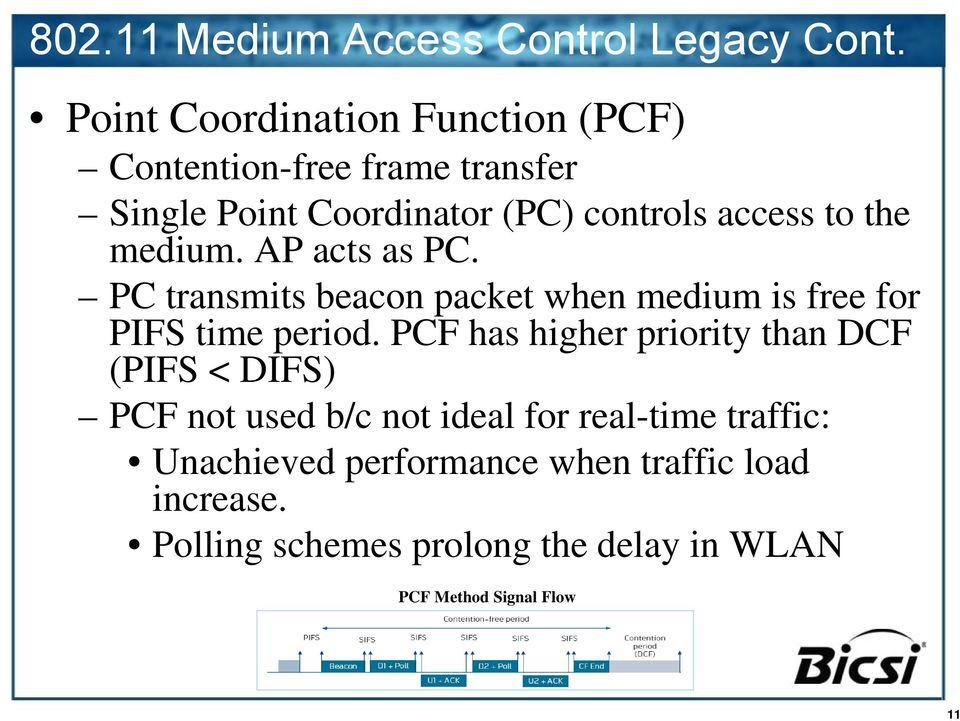 the medium. AP acts as PC. PC transmits beacon packet when medium is free for PIFS time period.