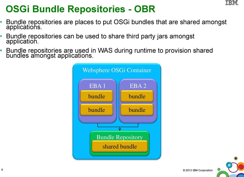 Introduction to osgi and modularity infosphere mdm version 11x repositories can be used to share third party jars amongst application malvernweather Image collections