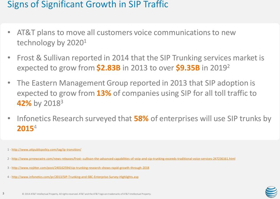 35B in 2019 2 The Eastern Management Group reported in 2013 that SIP adoption is expected to grow from 13% of companies using SIP for all toll traffic to 42% by 2018 3 Infonetics Research surveyed