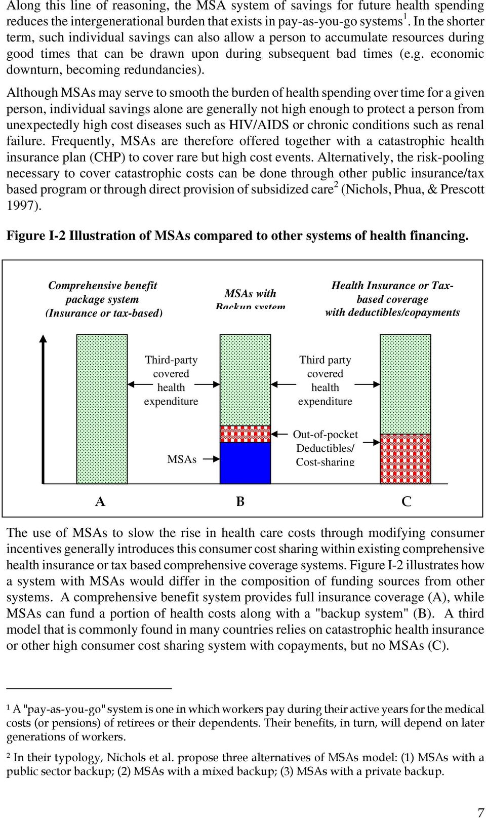 Although MSAs may serve to smooth the burden of health spending over time for a given person, individual savings alone are generally not high enough to protect a person from unexpectedly high cost