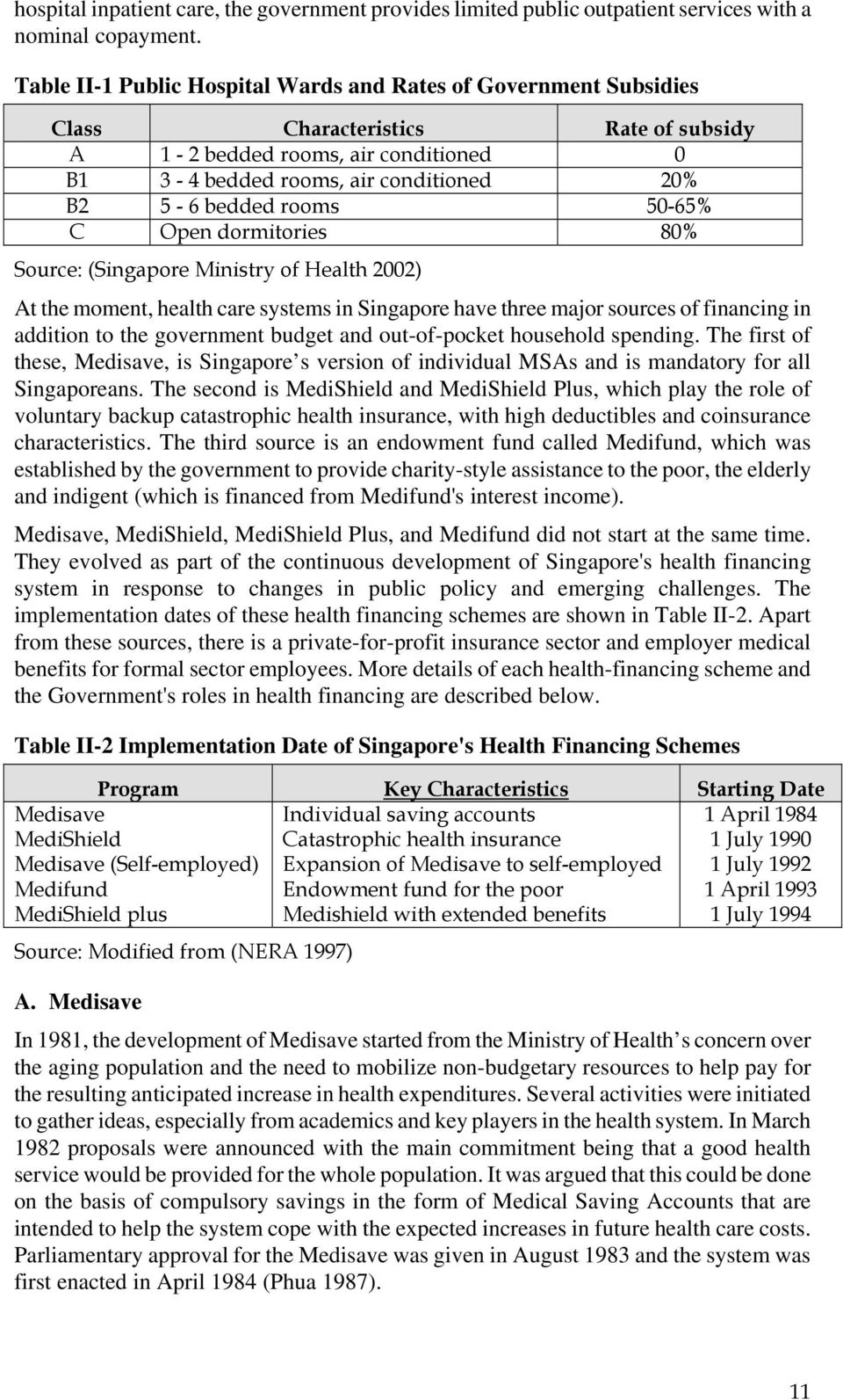 rooms 50-65% C Open dormitories 80% Source: (Singapore Ministry of Health 2002) At the moment, health care systems in Singapore have three major sources of financing in addition to the government