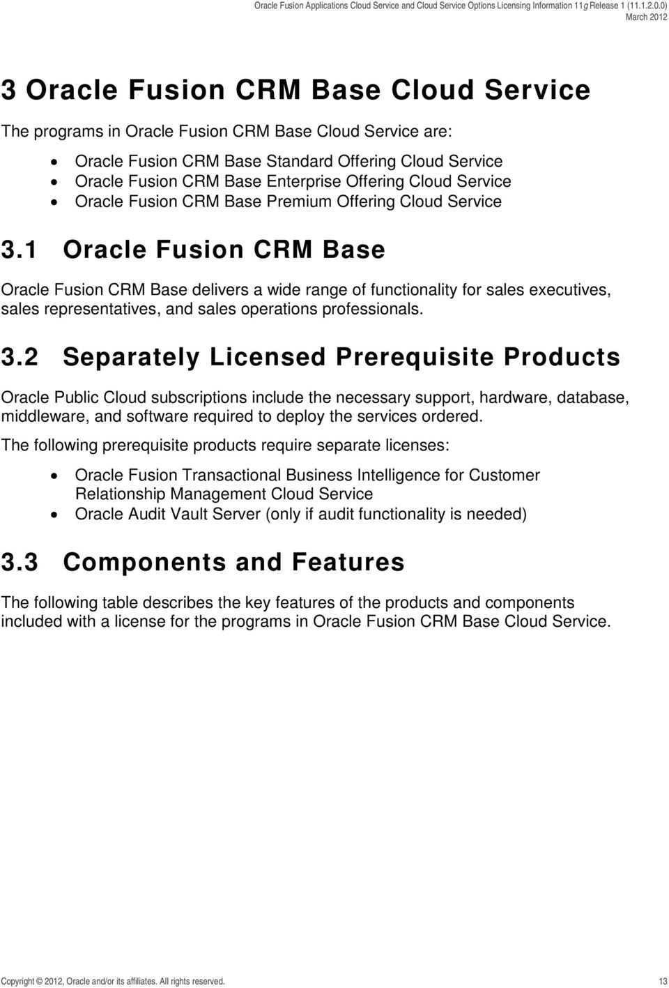 1 Oracle Fusion CRM Base Oracle Fusion CRM Base delivers a wide range of functionality for sales executives, sales representatives, and sales operations professionals. 3.