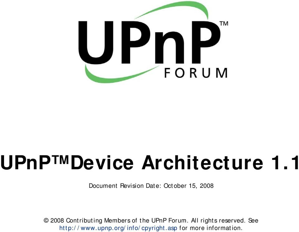 Contributing Members of the UPnP Forum.