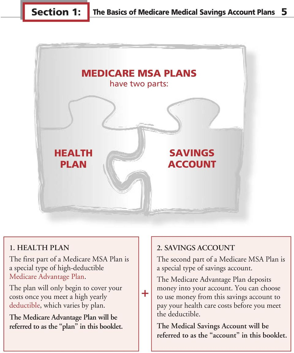 The plan will only begin to cover your costs once you meet a high yearly deductible, which varies by plan. The Medicare Advantage Plan will be referred to as the plan in this booklet. + 2.