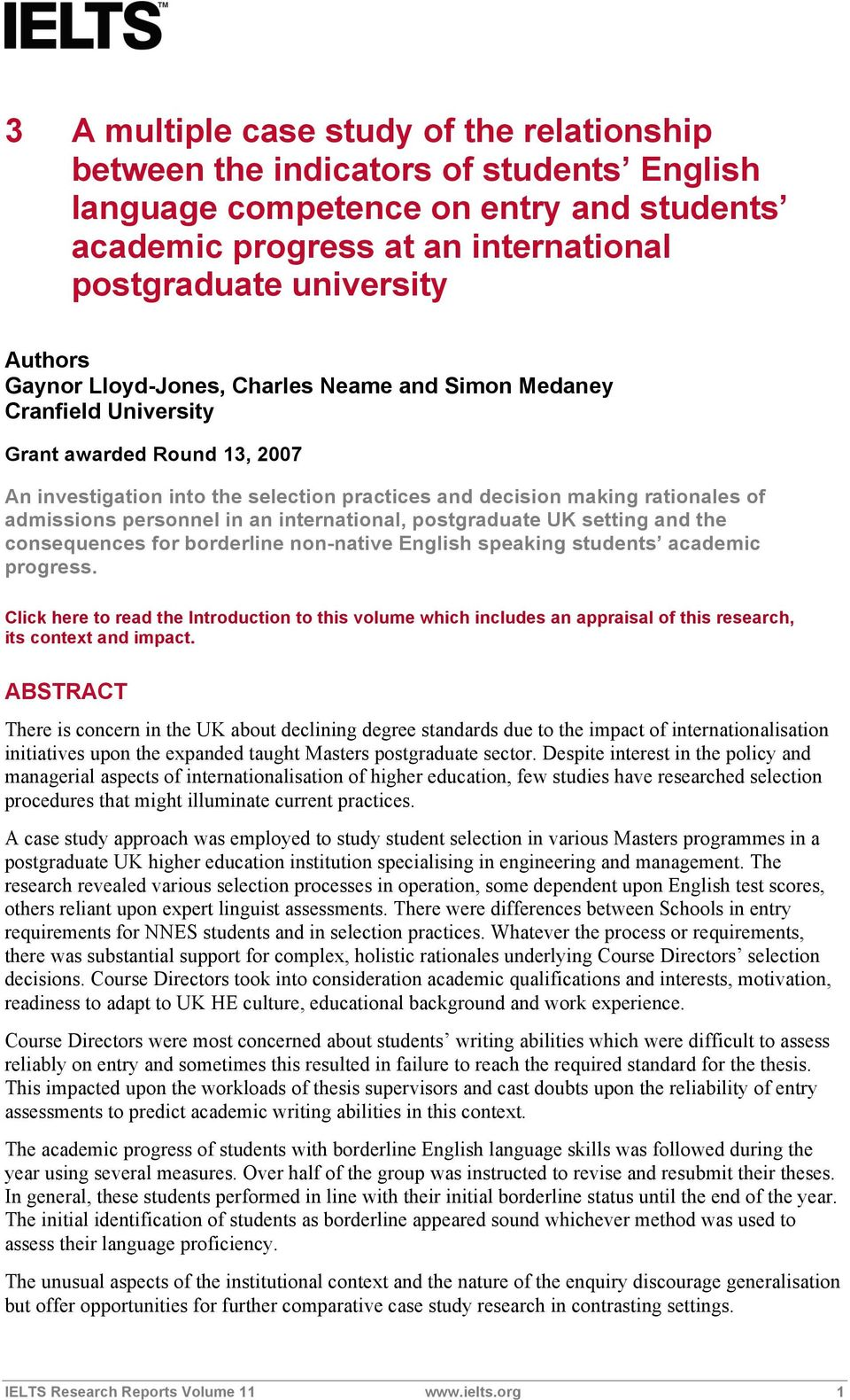 personnel in an international, postgraduate UK setting and the consequences for borderline non-native English speaking students academic progress.