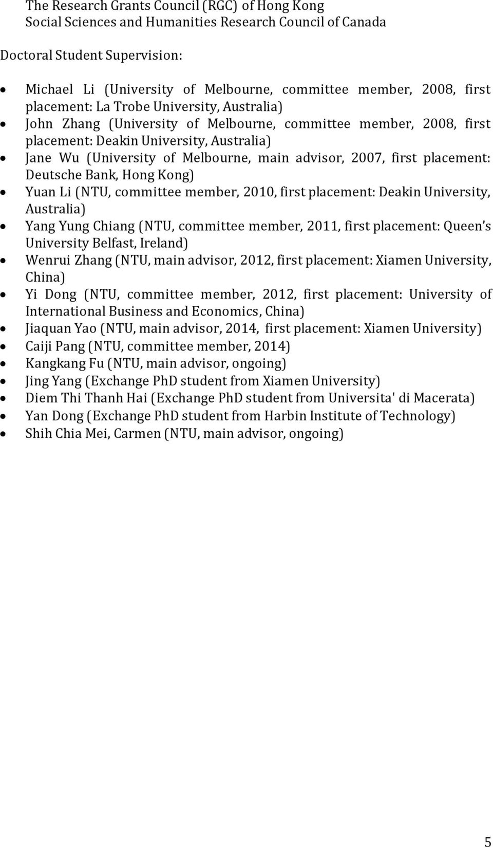 advisor, 2007, first placement: Deutsche Bank, Hong Kong) Yuan Li (NTU, committee member, 2010, first placement: Deakin University, Australia) Yang Yung Chiang (NTU, committee member, 2011, first