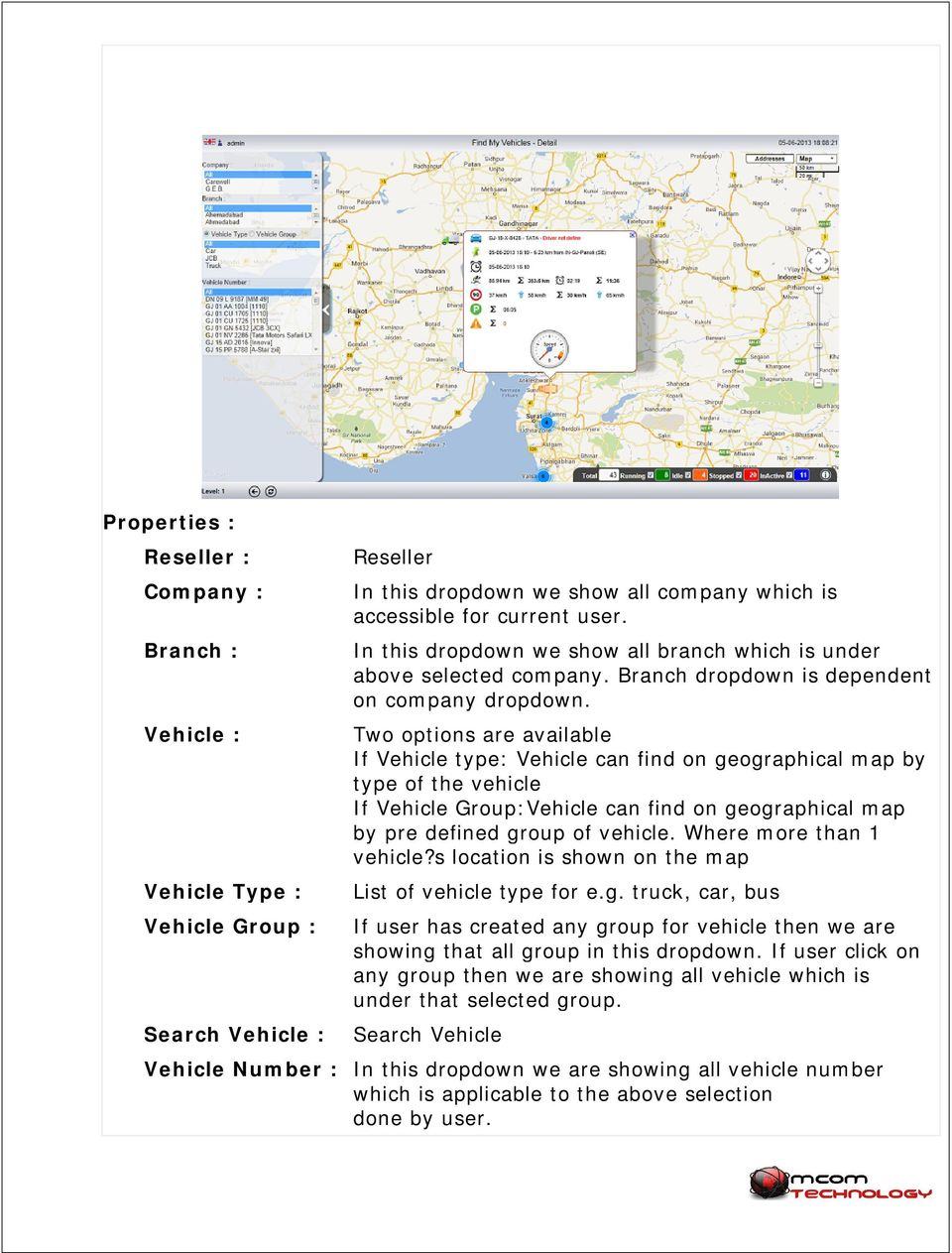 Two options are available If Vehicle type: Vehicle can find on geographical map by type of the vehicle If Vehicle Group:Vehicle can find on geographical map by pre defined group of vehicle.