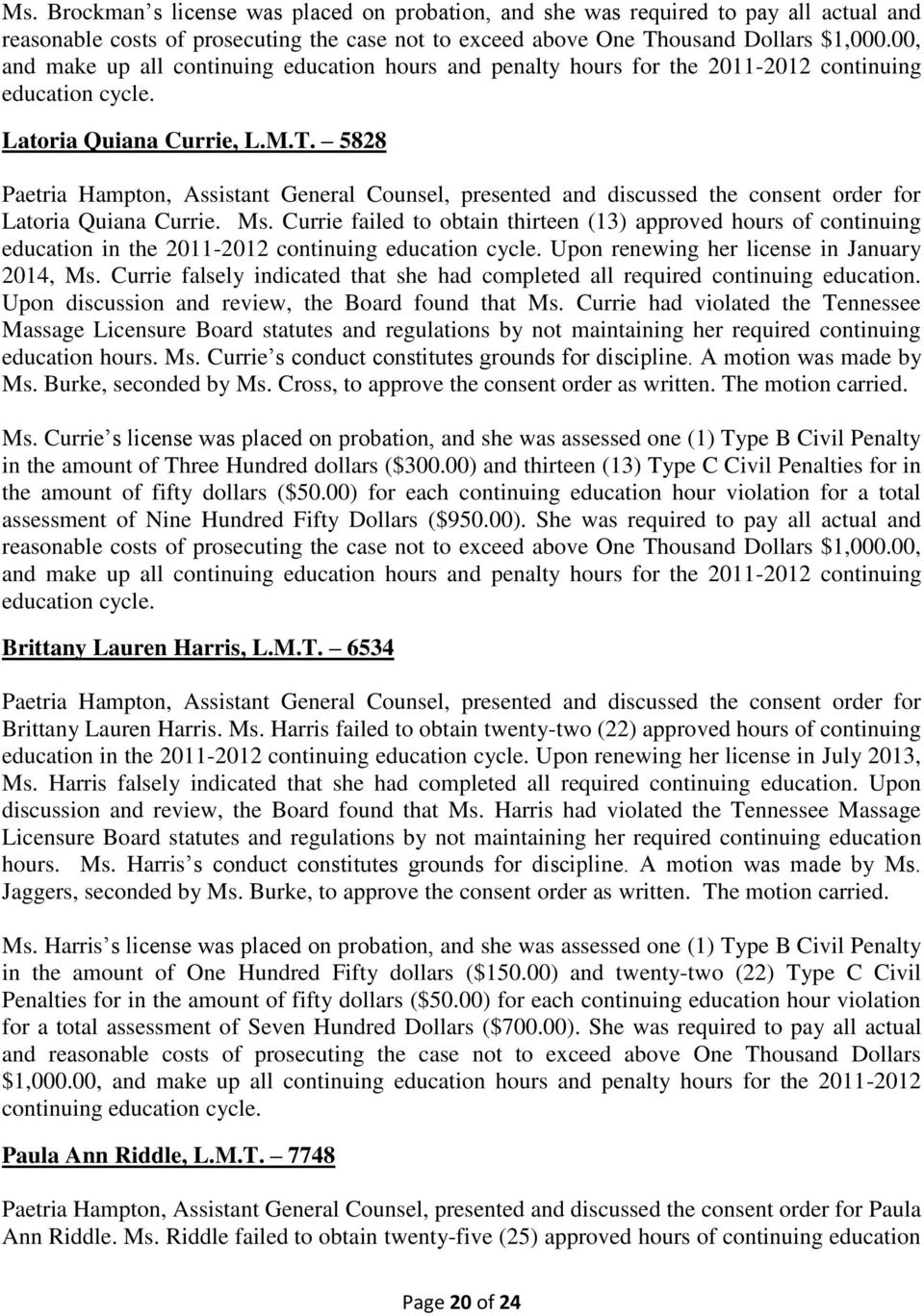 MINUTES TENNESSEE MASSAGE LICENSURE BOARD AUGUST 10, PDF