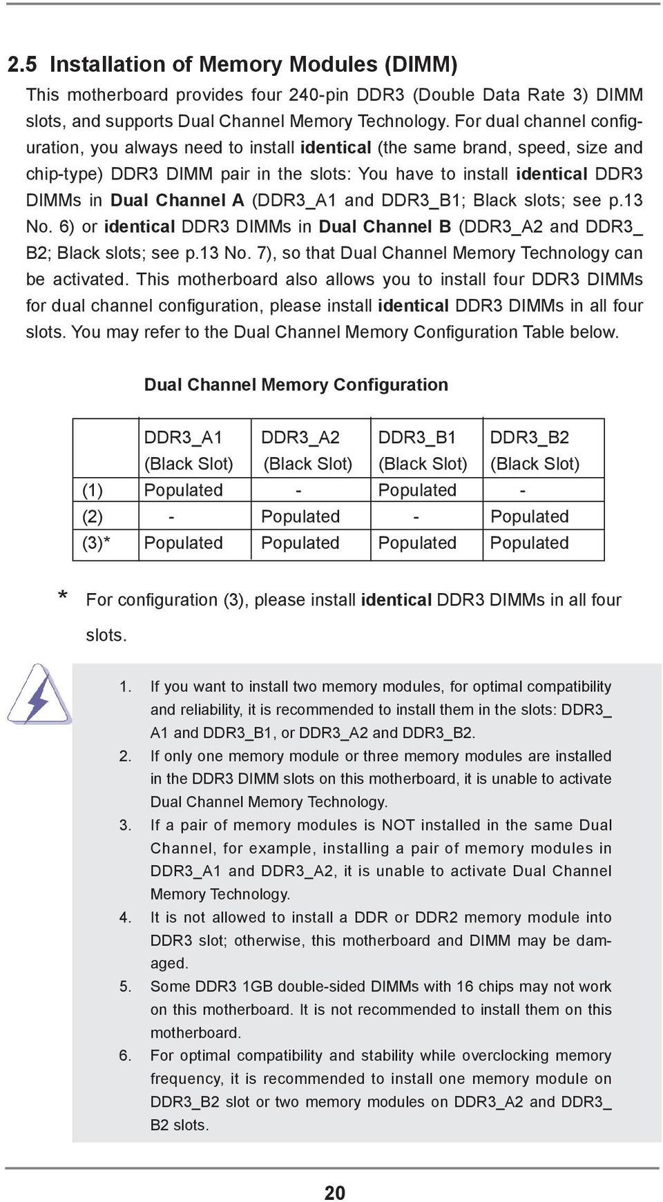 (DDR3_A1 and DDR3_B1; Black slots; see p.13 No. 6) or identical DDR3 DIMMs in Dual Channel B (DDR3_A2 and DDR3_ B2; Black slots; see p.13 No. 7), so that Dual Channel Memory Technology can be activated.