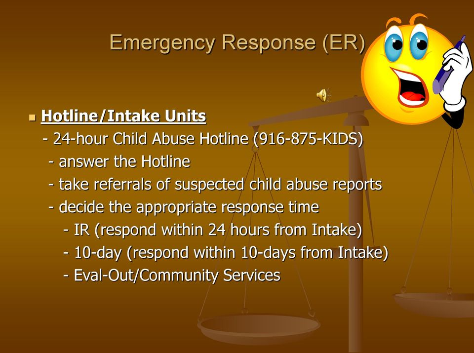 reports - decide the appropriate response time - IR (respond within 24 hours
