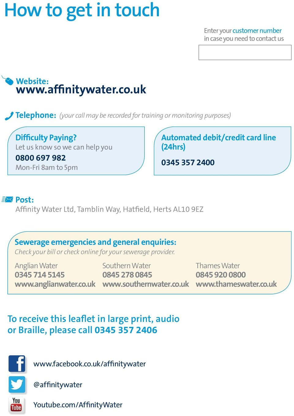 emergencies and general enquiries: Check your bill or check online for your sewerage provider. Anglian Water 0345 714 5145 www.anglianwater.co.uk Southern Water 0845 278 0845 www.southernwater.co.uk Thames Water 0845 920 0800 www.