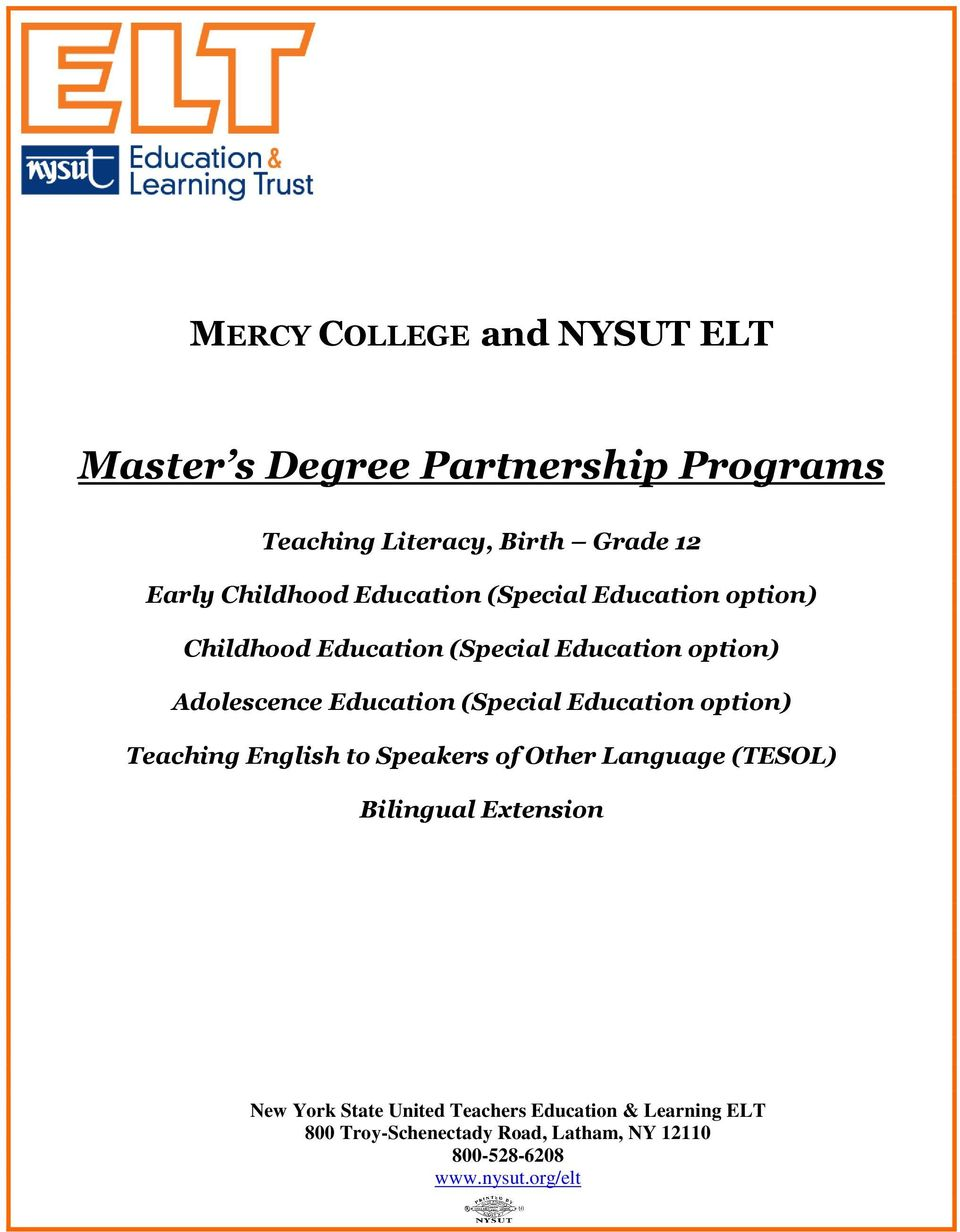 (Special Education option) Teaching English to Speakers of Other Language (TESOL) Bilingual Extension New York