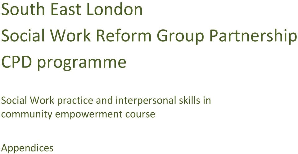 Work practice and interpersonal skills