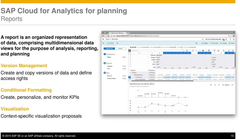 copy versions of data and define access rights Conditional Formatting Create, personalize, and monitor KPIs