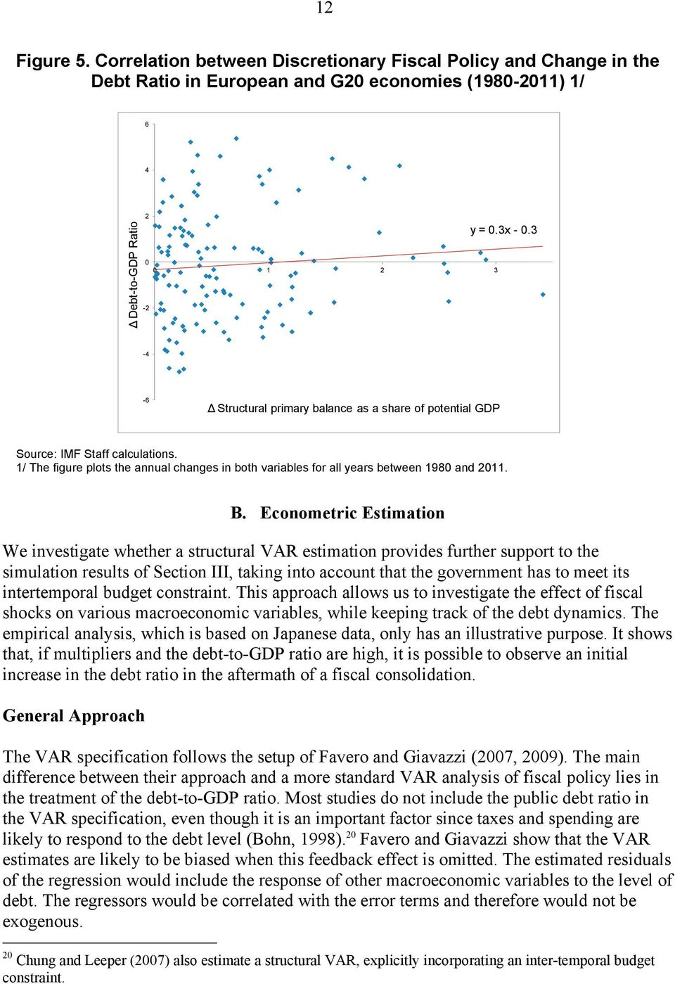 Econometric Estimation We investigate whether a structural VAR estimation provides further support to the simulation results of Section III, taking into account that the government has to meet its