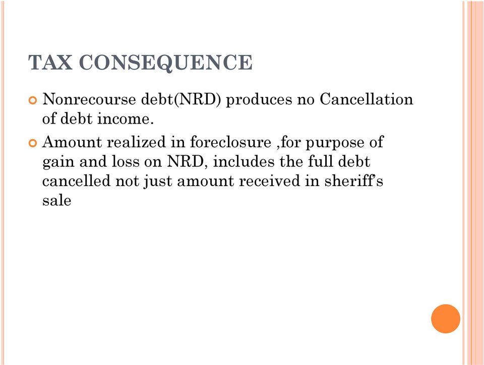 Amount realized in foreclosure,for purpose of gain and