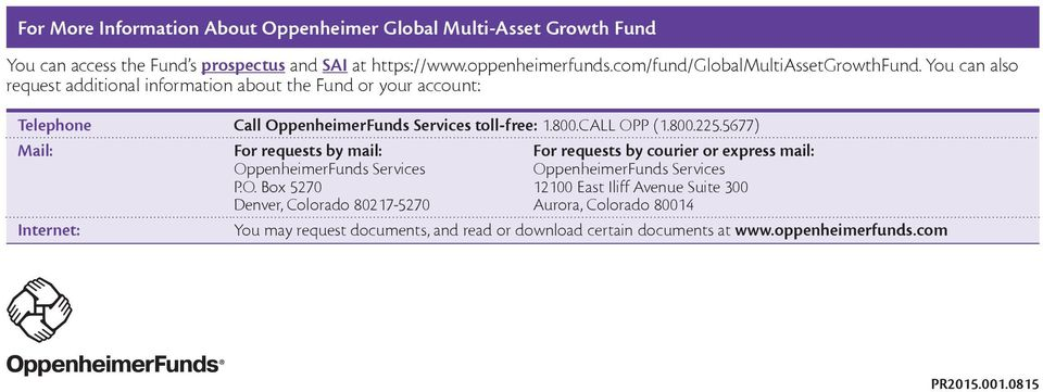 OppenheimerFunds Services toll-free: 1800CALL OPP (18002255677) Mail: For requests by mail: OppenheimerFunds Services PO Box 5270 Denver, Colorado 80217-5270 For