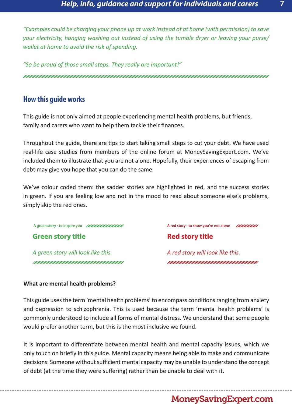 How this guide works This guide is not only aimed at people experiencing mental health problems, but friends, family and carers who want to help them tackle their finances.