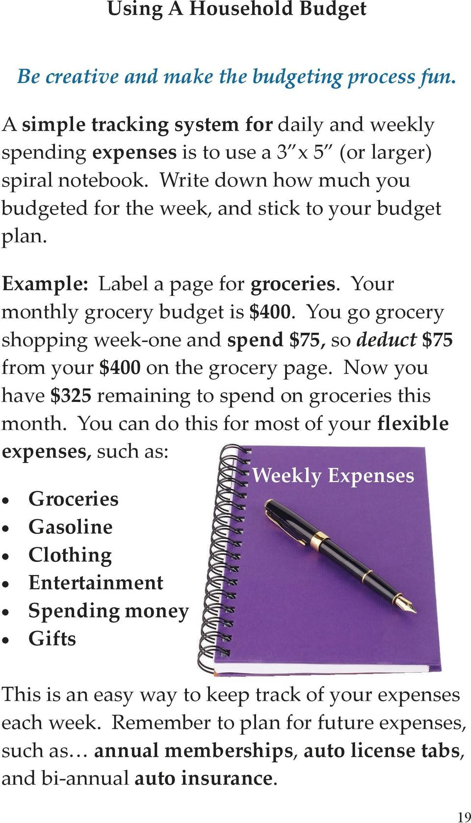 You go grocery shopping week one and spend $75, so deduct $75 from your $400 on the grocery page. Now you have $325 remaining to spend on groceries this month.