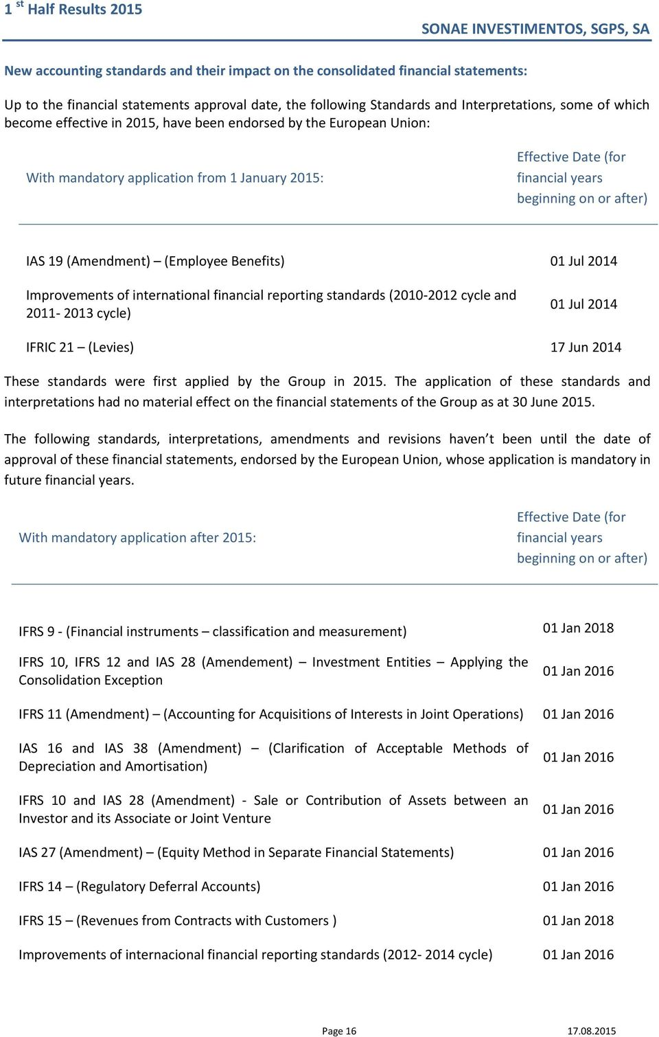 Benefits) 01 Jul 2014 Improvements of international financial reporting standards (2010 2012 cycle and 2011 2013 cycle) 01 Jul 2014 IFRIC 21 (Levies) 17 Jun 2014 These standards were first applied by