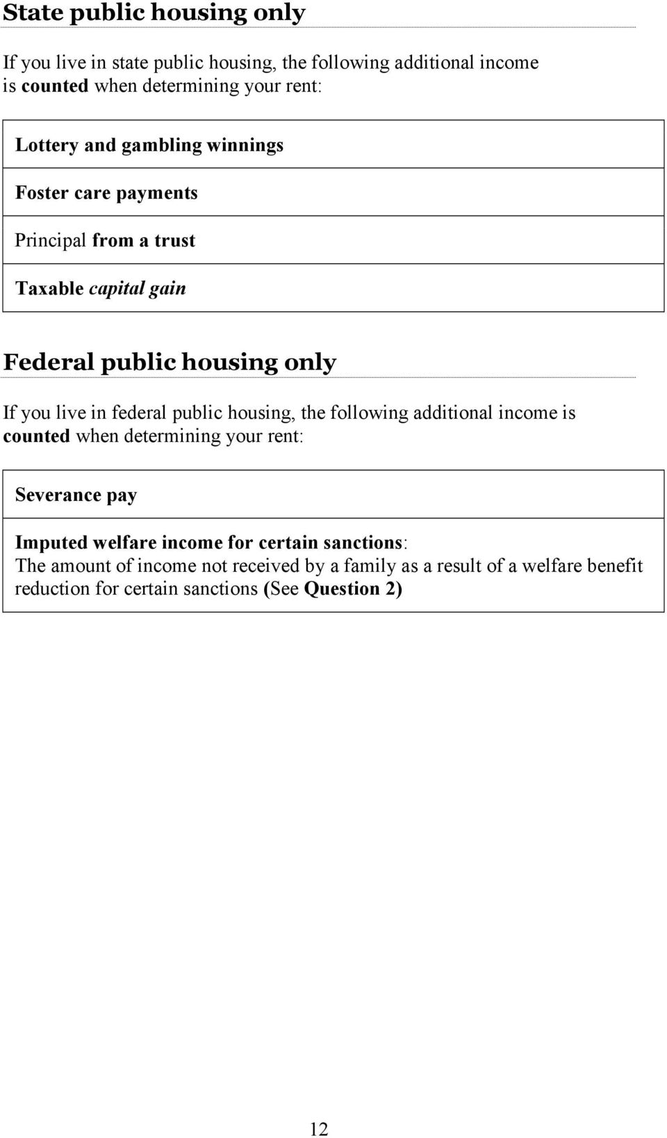 federal public housing, the following additional income is counted when determining your rent: Severance pay Imputed welfare income for