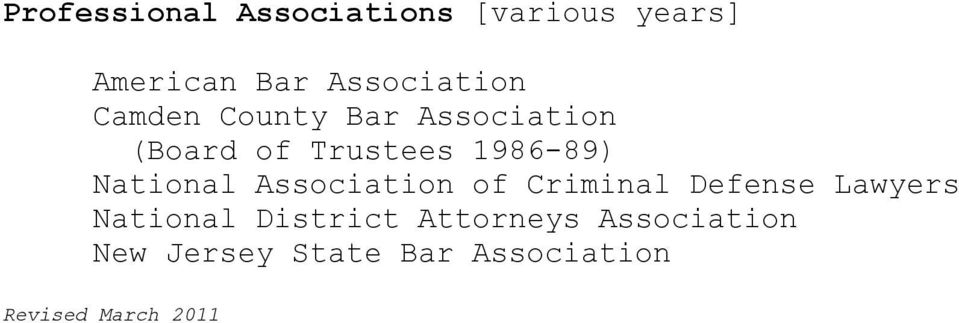 Association of Criminal Defense Lawyers National District