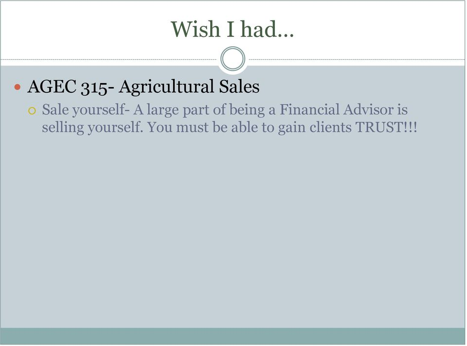 Financial Advisor is selling yourself.