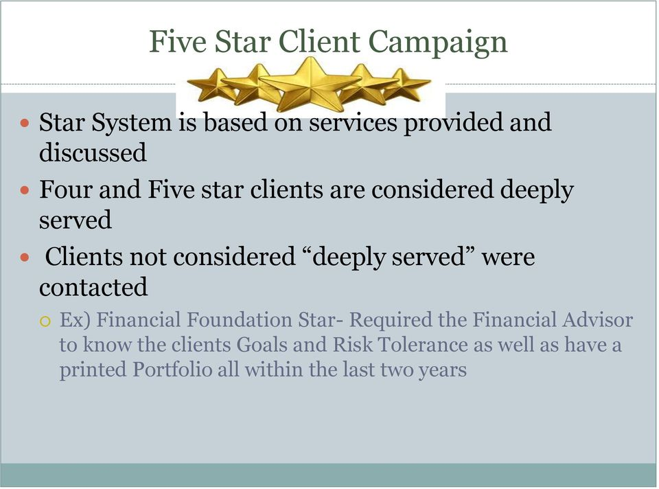 contacted Ex) Financial Foundation Star- Required the Financial Advisor to know the