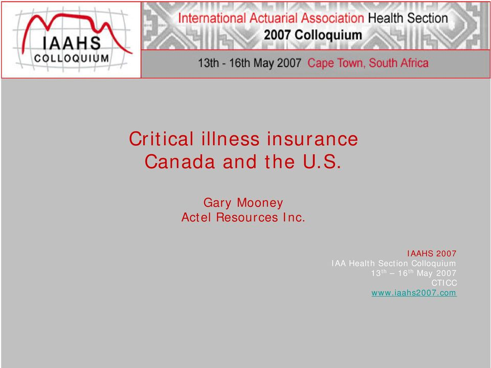 IAAHS 2007 IAA Health Section Colloquium